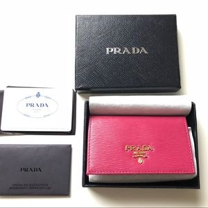 ba4fcc86797f66 Miss dior lamb leather pink wallet on chain\cluth Prada Metal Card Case  Wallet ...